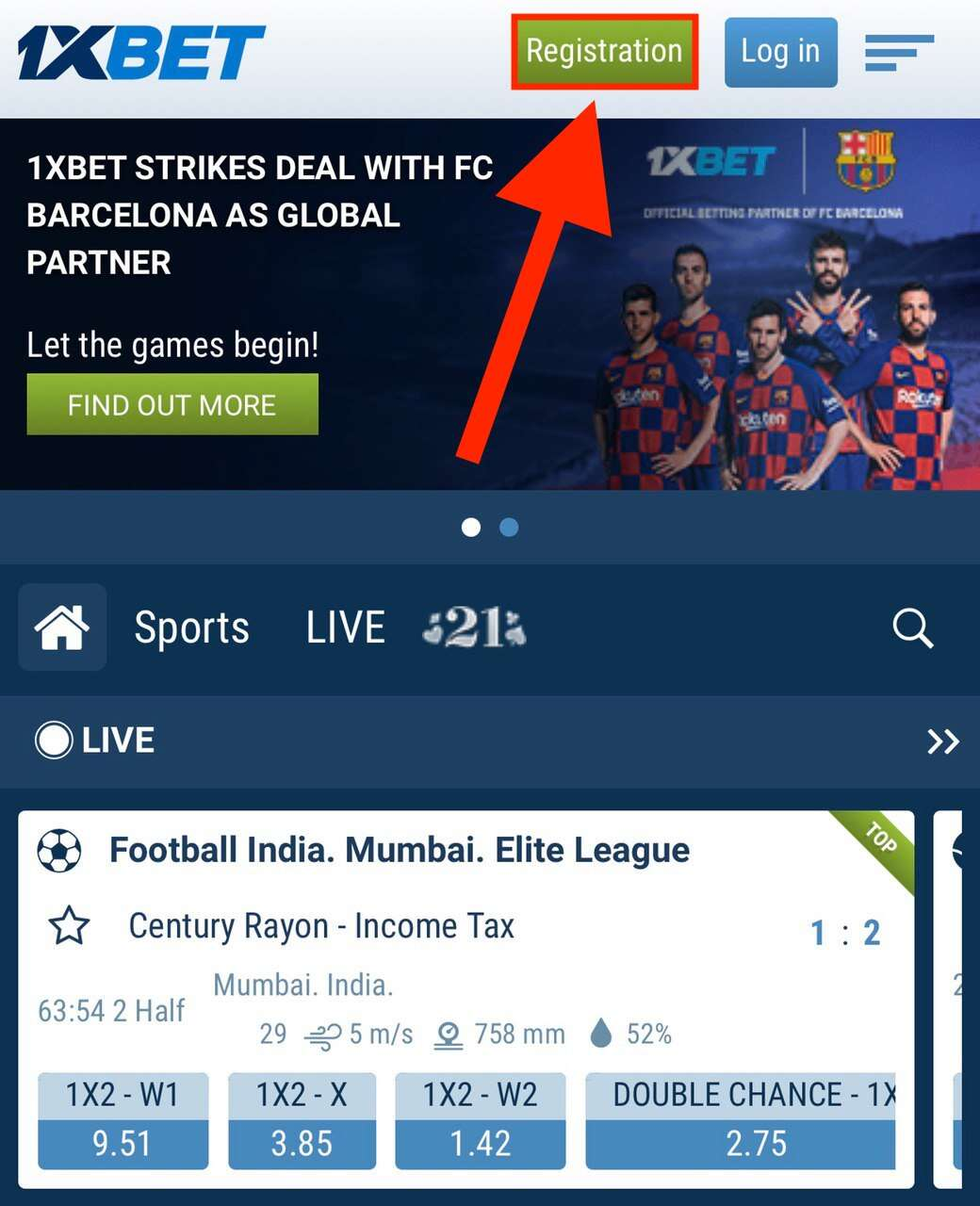 1xbet main page