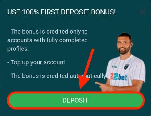 deposit 22bet