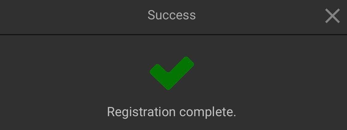 Confirmation of registration